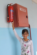 A girl at the school hallway for DRR program