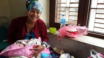 3-hour old baby born this morning in UNICEF-sprtd Trishuli Hospital