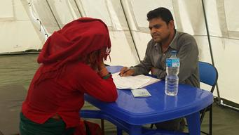 Counselling for women provided in privacy of UNICEF tent - Dhading District, Nepal