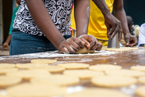 Demobilized child soldiers learn bakery in Transit and Orientation Centre
