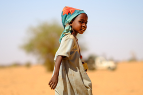 Internally displaced at a UNICEF supported camp in Garajeem locality in Darfur.